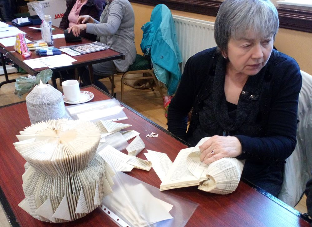 Books folded into 3D items, Sheila Devereux shows how it is done.