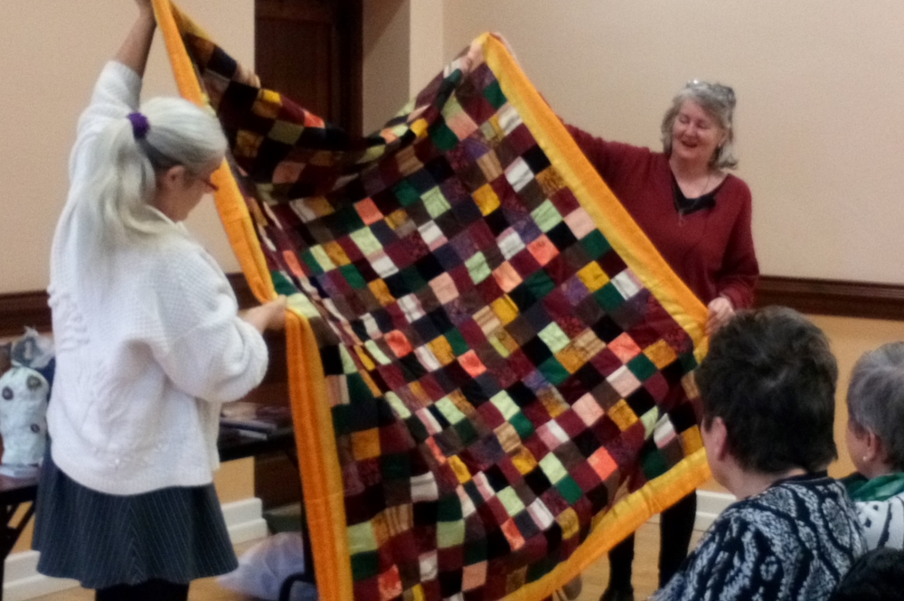 Helen O'Shea's first quilt made from waste curtain fabrics.